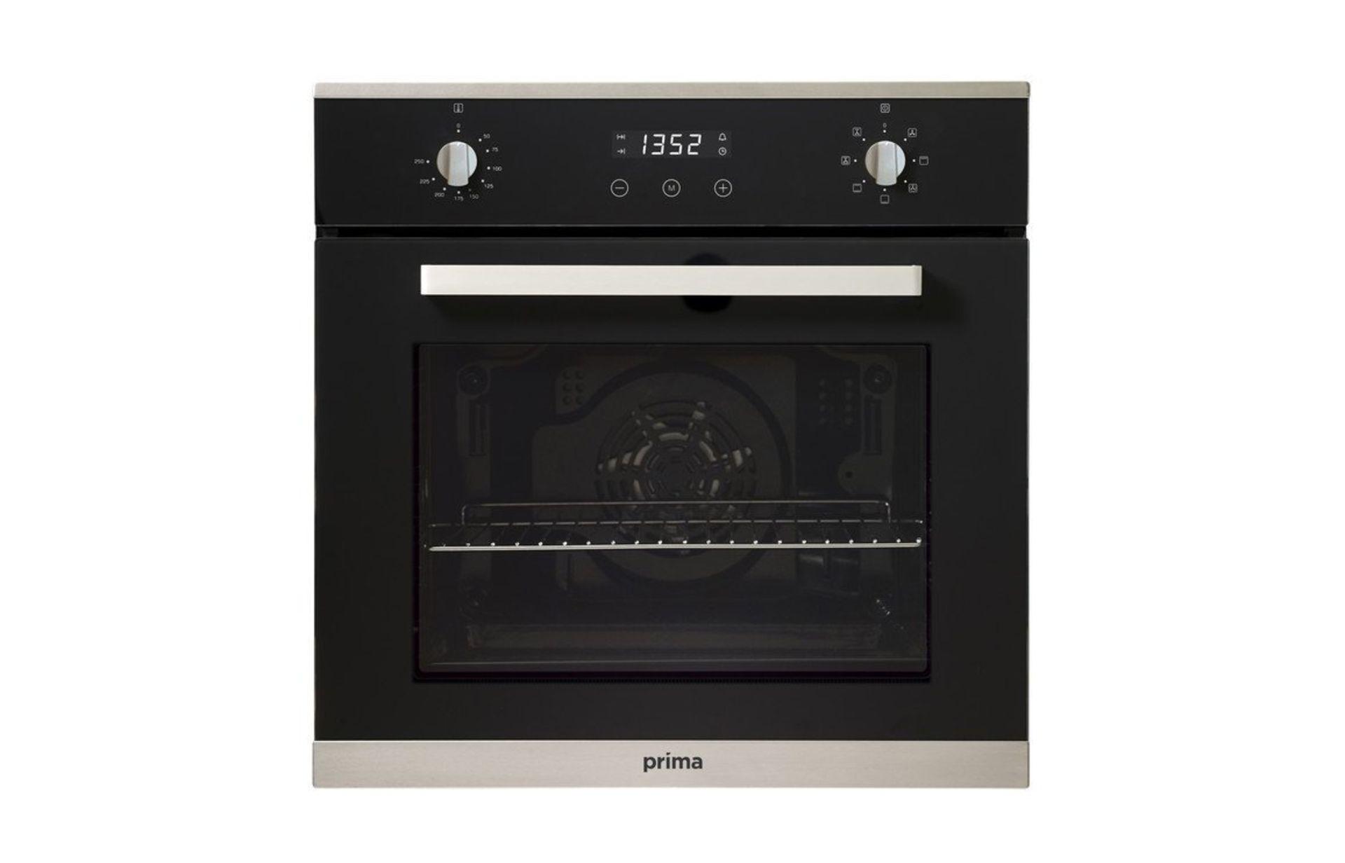 (KA22) Prima+ PRSO106 B/I Single Electric Fan Oven - Black & St/Steel. A Built In Single Electr...