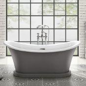 NEW 1700x745mm York Grey Freestanding Bath.RRP £3,489. BR300. Victorian inspired bath Stunnin...