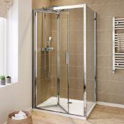 NEW (AA8) 1000x800mm - 6mm - Elements EasyClean Bi Fold Door Shower Enclosure & 1000x800mm Rect...