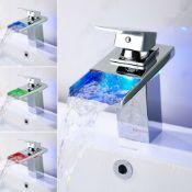 NEW & BOXED LED II RGB Bathroom Taps Waterfall Basin Mono Mixer Bath Tap Single Lever Faucet. ...