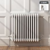 NEW (AA158) 600x628mm White Double Panel Horizontal Colosseum Traditional Radiator. RRP £395....