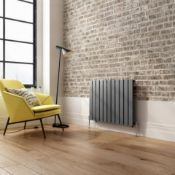 NEW & BOXED 600x832mm ANTHRACITE SINGLE FLAT PANEL HORIZONTAL RADIATOR.RRP £399.99.RC469.Low c...