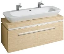 NEW & BOXED (A10) Keramag 1200mm Silk Light Oak Vanity Unit. RRP £2,144.99. with 2 drawers an...