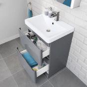 NEW & BOXED 600mm Denver Gloss Grey Built In Basin Drawer Unit - Floor Standing.RRP £749.99.MF...