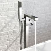 NEW & BOXED Canim Freestanding Shower Mixer Tap & Hand Held Shower Head. Crafted from chrome p...