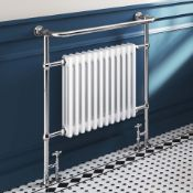 New & Boxed 952x405mm Large Traditional White Towel Rail Radiator - Victoria Premium.Rrp £431....
