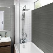 NEW & BOXED Modern Chrome Riser Rail Mixer Square Shower Head Kit for Bath Tap. SP5106.Chrome e...