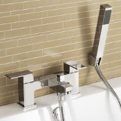 NEW & BOXED Chrome Bath Filler Mixer Tap Hand Held Shower Head Handset Set TB3085.Chrome plated...