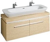 NEW (F22) Keramag 1200mm Silk Light Oak Vanity Unit. RRP £2,144.99.With 2 drawers and 2 chrom...