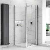 NEW (F7) 800x760mm - 8mm - Premium EasyClean Hinged Door Shower Enclosure. Includes 800x760mm S...