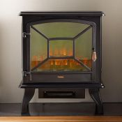 (S303) 1800W Black Panoramic Stove Heater Electric stove heater with three tempered glass pane...