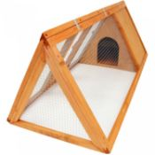 (L56) Wooden Outdoor Triangle Rabbit Guinea Pig Pet Hutch Run Cage High Quality Fir Wood Con...