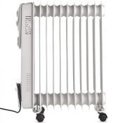 (S13) 11 Fin 2500W Oil Filled Radiator - White Suitable for areas up to 28 square metres 3 po...