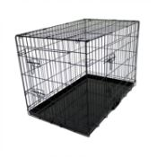 "(L51) 36"" Folding Metal Dog Cage Puppy Transport Crate Pet Carrier Fully Foldable for Transpor..."