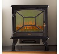 (HZ111) 1800W Black Panoramic Stove Heater Three tempered glass panels give a panoramic view o...
