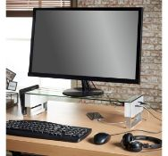 (MY33) Adjustable Monitor Riser Features three integrated USB ports plus headphone and microph...