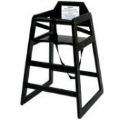(PR31) Kids Wooden High Chair - Black BS EN 14988:2017 Parts 1 & 2 Certified Made from FSC Ce...
