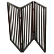 (PR6) Dog Safety Folding Wooden Pet Gate Portable Indoor Barrier 3 Hinged Sections - Panel Dim...