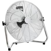 "(PR19) 18"" Chrome 3 Speed Free Standing Gym Fan 3 Speed Push Button Speed Control Fixed Posit..."