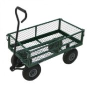 (PR3) Heavy Duty Metal Gardening Trolley - Green Trailer Cart Handle For Pulling And Removable...