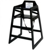 (PR62) Kids Wooden High Chair - Black BS EN 14988:2017 Parts 1 & 2 Certified Made from FSC Ce...