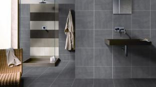NEW 8.52m2 Porland Marengo Grey Wall and Floor Tiles. 450x450mm Per Tile, 8.8mm Thick. ndustria...