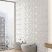 NEW 8.55m2 3D White Star Effect Wall and Floor Tiles. 300x600mm per tile. 8mm Thick. n gloss-wh...