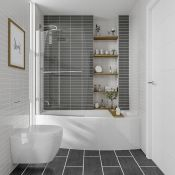 1700mm Left Hand Space Saver Shower Bath Screen Rail & Front Panel (Excludes End Panel). Ideal for