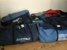 job lot of tents, windbreakers and sleeping bags 18 items £2000+