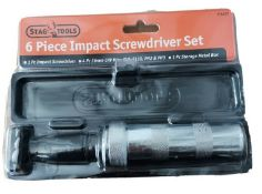 6 x stag tools impact screw driver sets with 4 quality screwdriver bits.