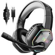 EKSA RGB LED 7.1 Virtual Surround Gaming Headset Wired USB Bass Earphone w/ Mic