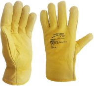 2 x Driver Gloves Fleece Cotton Lined Leather Lorry Drivers WORK Gloves (Large)