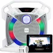 RockJam RJPS100 Singcube 12 Watt Rechargeable Bluetooth Karaoke Machine with Lights Voice Changer an