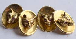 Pair Of Vintage 9ct Gold Fox Cufflinks