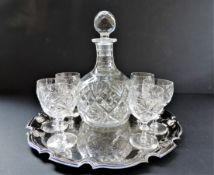 Crystal Decanter and Glasses on Silver Plate Serving Tray