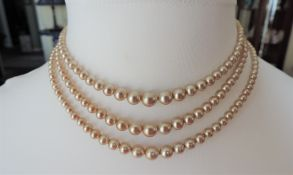 Vintage Triple Stand Pearl Necklace