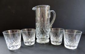 Cut Crystal Water Jug and Glasses