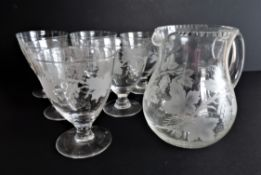 Art Deco Wine Goblets and Carafe Drinks Set c.1930's