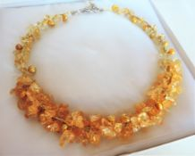 Gold Quartz and Cultured Pearl Necklace