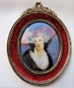 Antique Portrait Miniature of Elegant Regency Lady