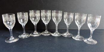 Set 8 Antique Crystal Engraved Glasses