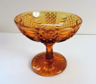 Vintage Amber Glass Tazza