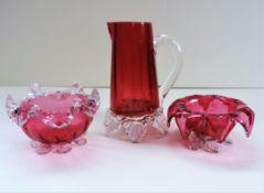 Victorian Cranberry Glass Milk, Sugar & Jam
