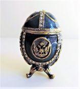 Blue Faberge Style Enameled Egg