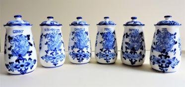 Vintage Delfts Dutch Pottery Herb Storage Jars
