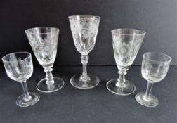 Five Antique Etched Crystal Glasses
