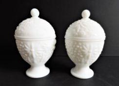 Vintage White Opaline Glass Trinket Pots