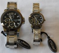 Skone his and hers Watches Black Dial Silver Strap