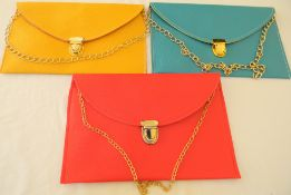 3 x Chain bag shoulder evening clutch bag (Yellow/Terquise/Red)
