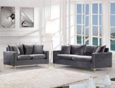 Brand New Boxed 3 Seater Plus 2 Seater Icon Sofas In Plush Grey Velvet